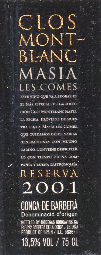 Concavins_Clos-Mont-Blanc-Masia-Les-Comes-Reserva-2001