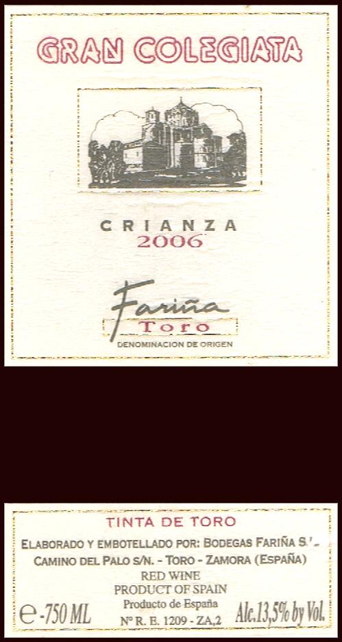 Bodegas Fariña SL_Gran Colegiata Crianza 2006